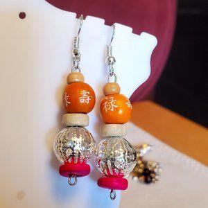 """1.5"""" Silver Tone Hook Metal and Wood Bead Earrings"""